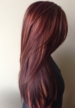 Dark-red-rich-hair-color-with-caramel-highlights