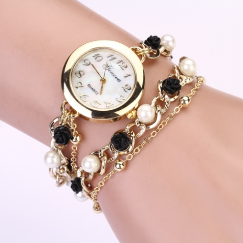 2015-New-Style-Geneva-brand-watches-Jewelry-Chain-Bracelet-Crystal-Watch-Rose-pearl-chain-clock-women